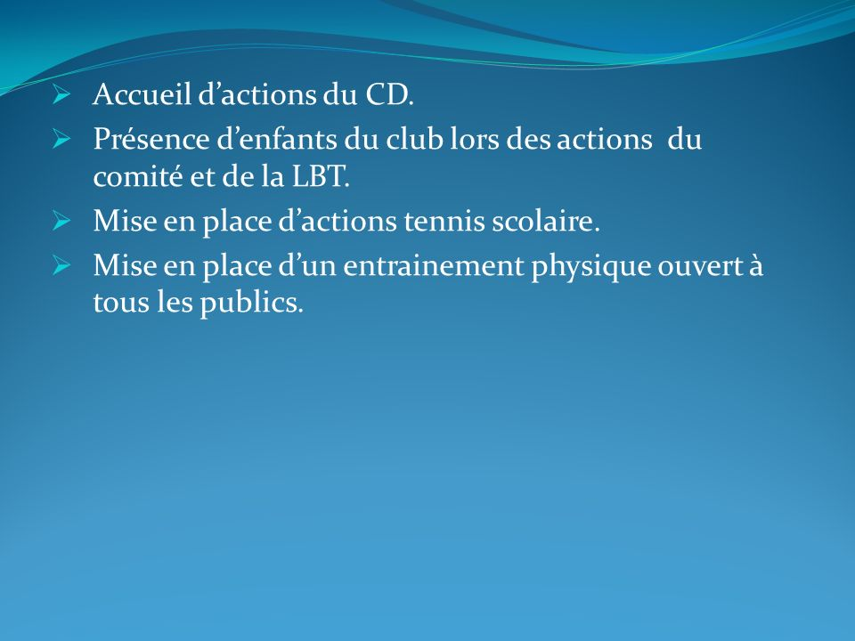 Accueil d'actions du CD.