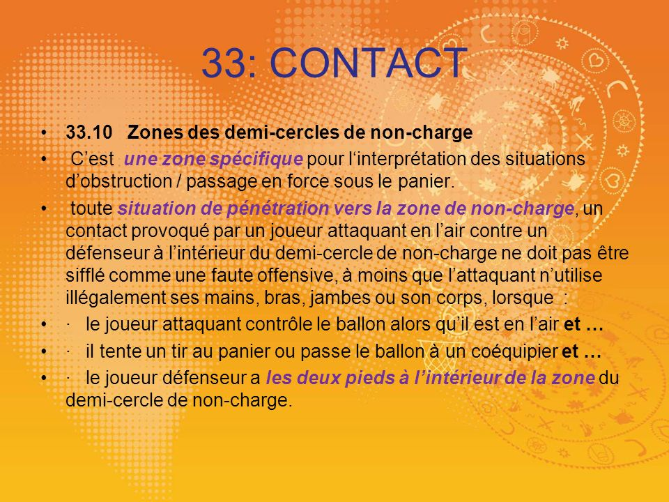 33: CONTACT 33.10 Zones des demi-cercles de non-charge
