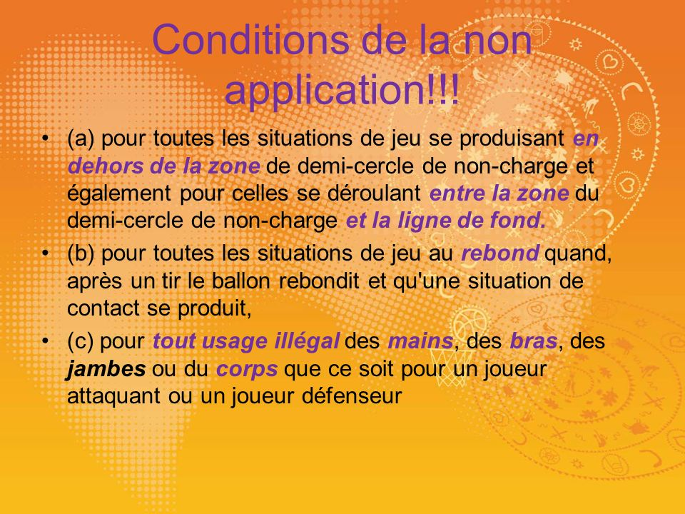 Conditions de la non application!!!