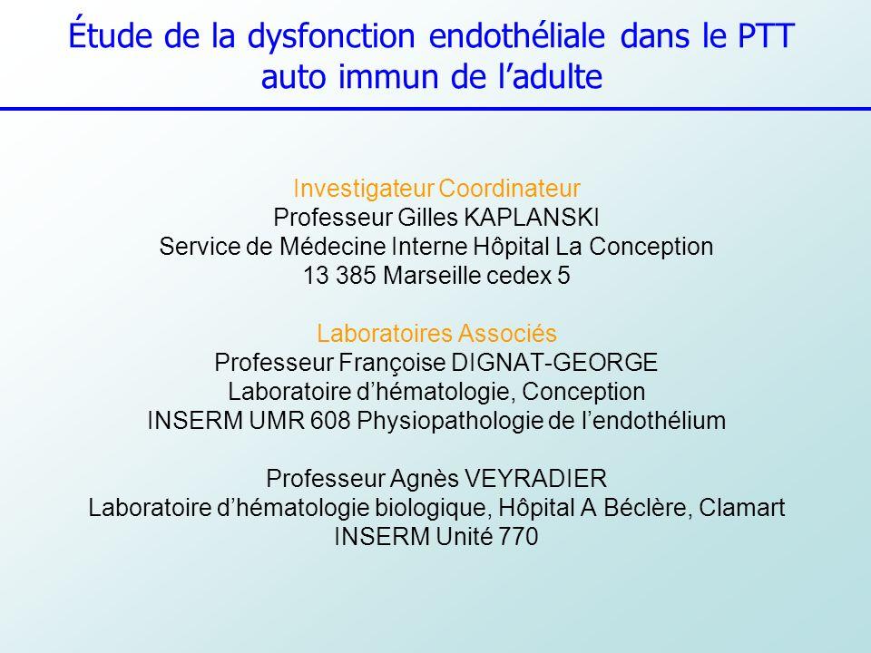 Étude de la dysfonction endothéliale dans le PTT auto immun de l'adulte