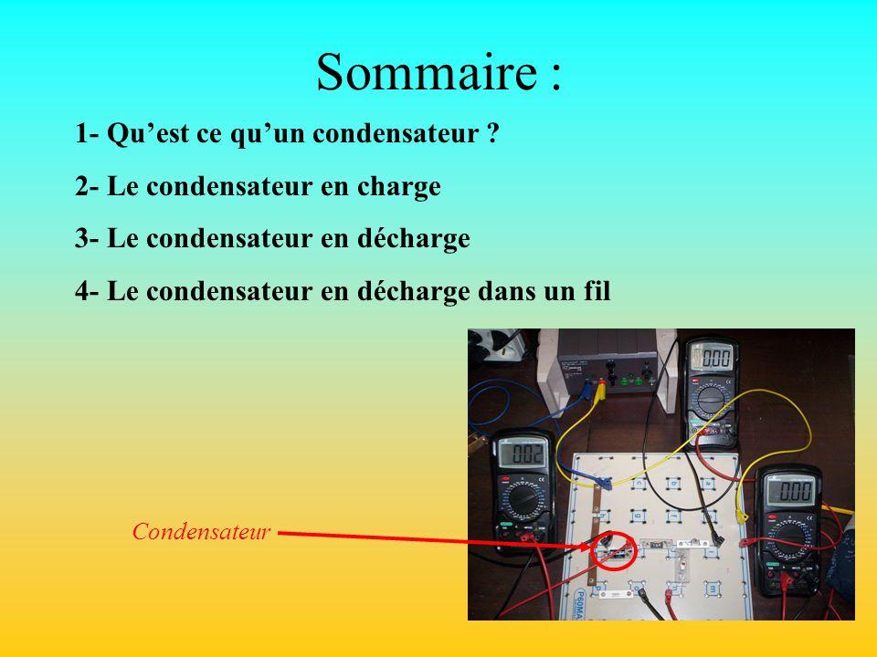 Sommaire : 1- Qu'est ce qu'un condensateur