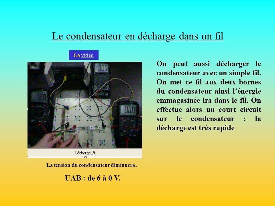 Le condensateur en décharge dans un fil