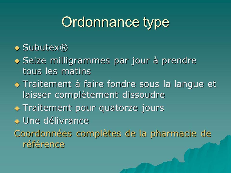 Ordonnance type Subutex®