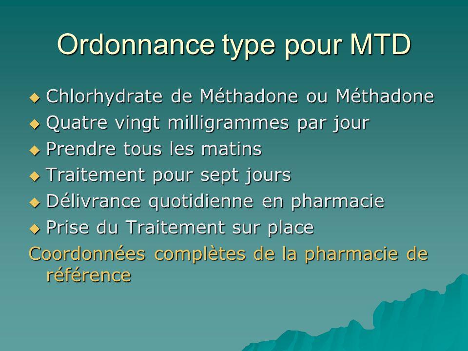 Ordonnance type pour MTD