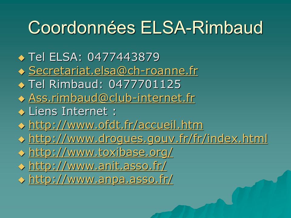 Coordonnées ELSA-Rimbaud