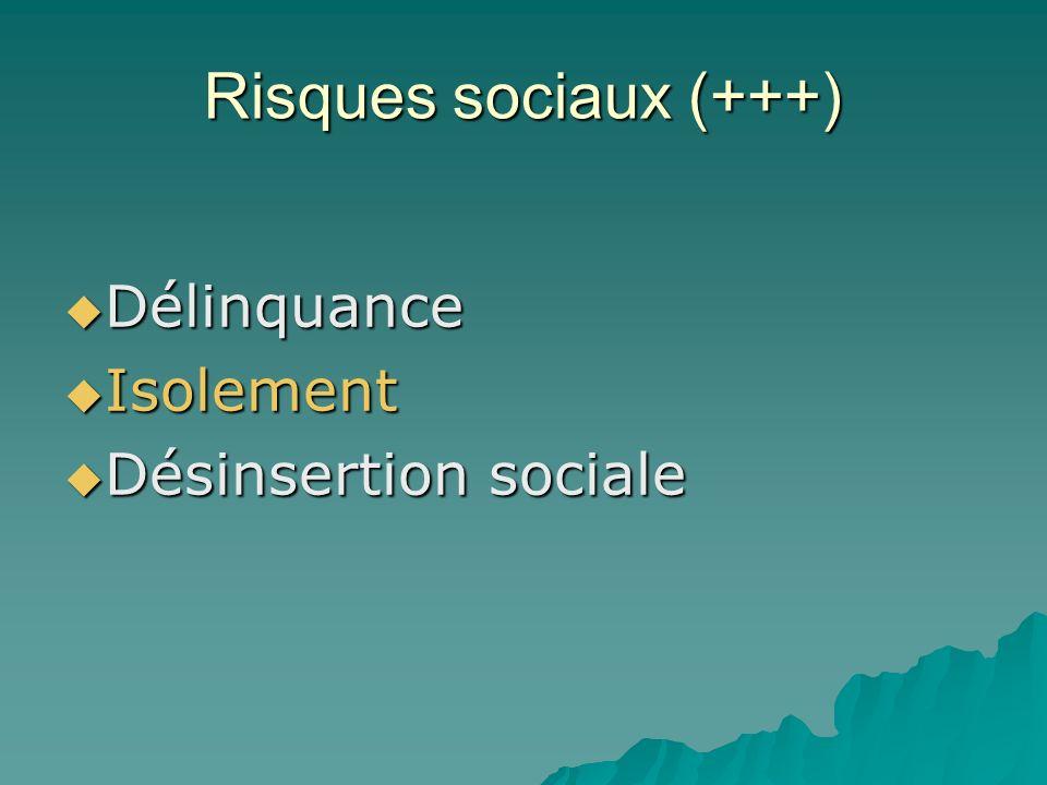 Risques sociaux (+++) Délinquance Isolement Désinsertion sociale