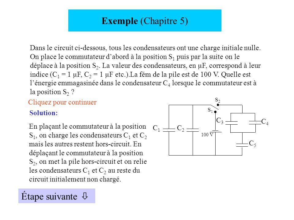 Exemple (Chapitre 5) Étape suivante 