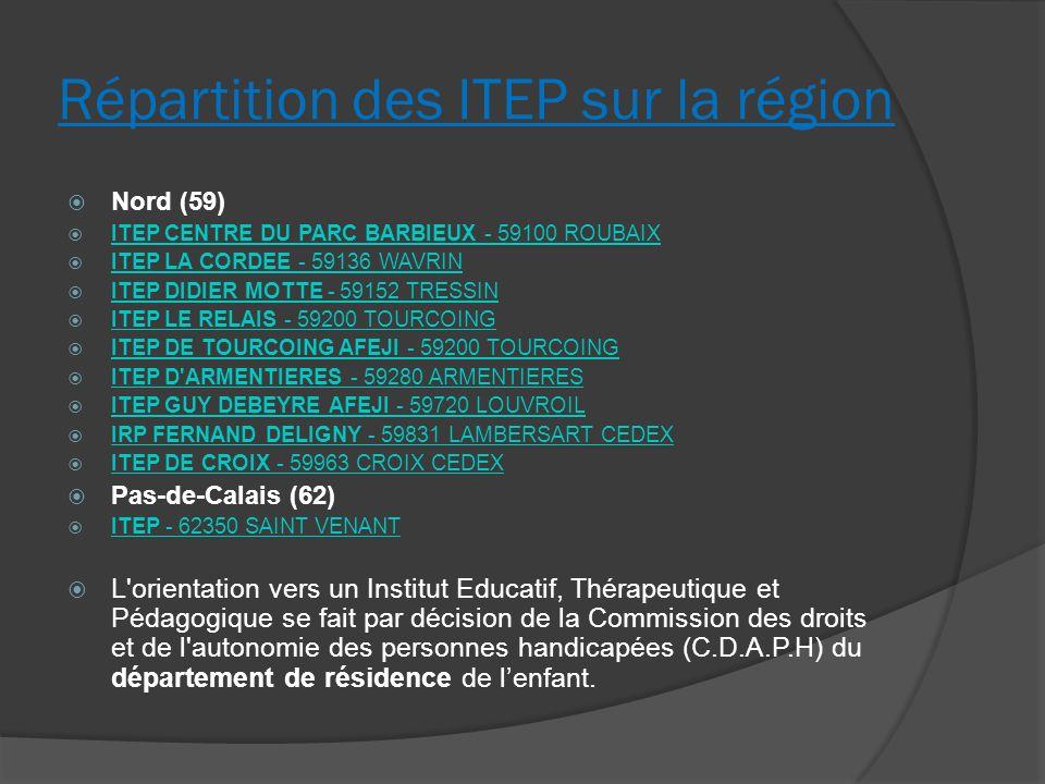 Répartition des ITEP sur la région