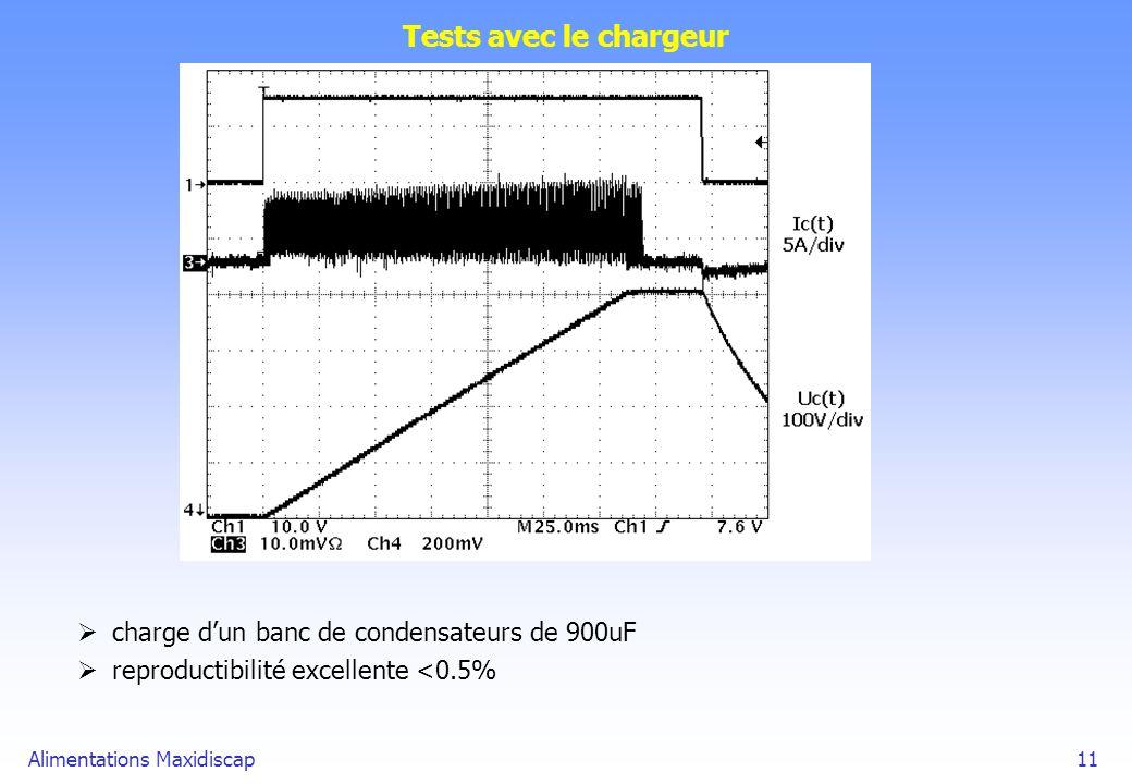 Tests avec le chargeur charge d'un banc de condensateurs de 900uF