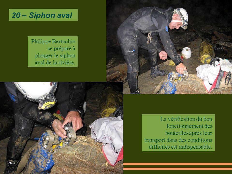 20 – Siphon aval Philippe Bertochio se prépare à plonger le siphon aval de la rivière.