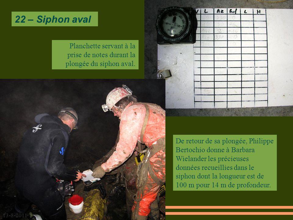 22 – Siphon aval Planchette servant à la prise de notes durant la plongée du siphon aval.
