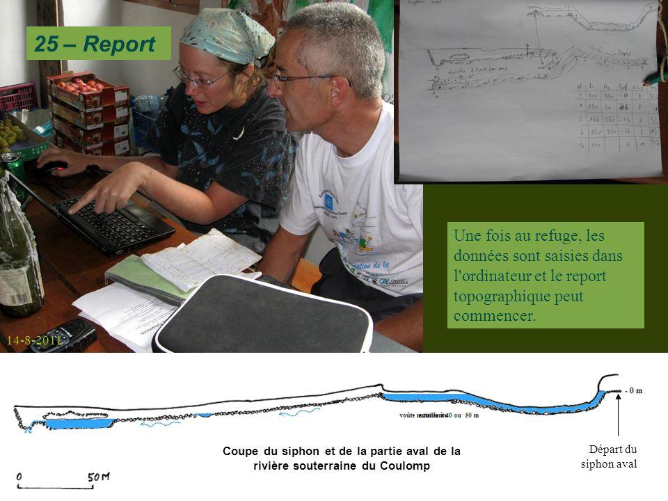 25 – Report Une fois au refuge, les données sont saisies dans l ordinateur et le report topographique peut commencer.