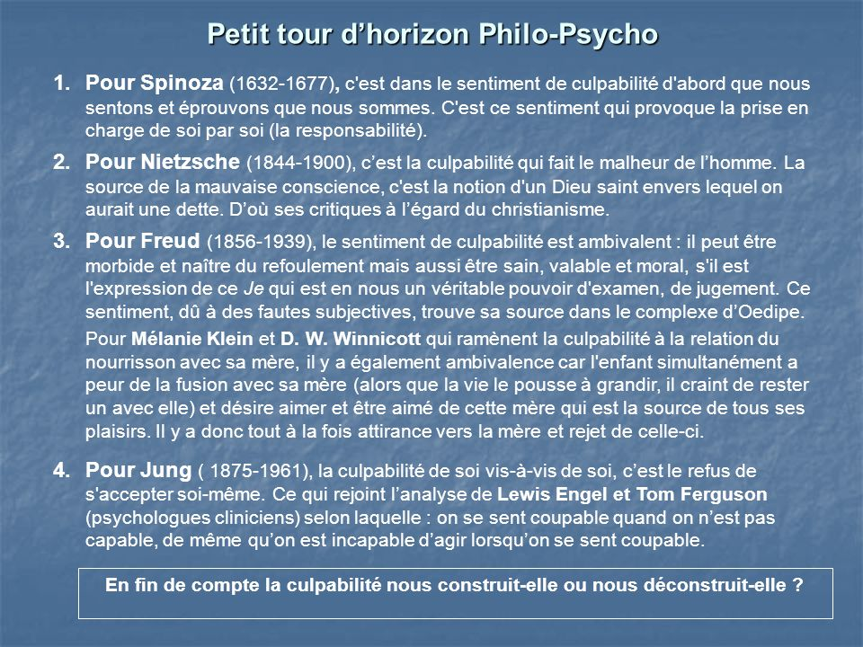 Petit tour d'horizon Philo-Psycho