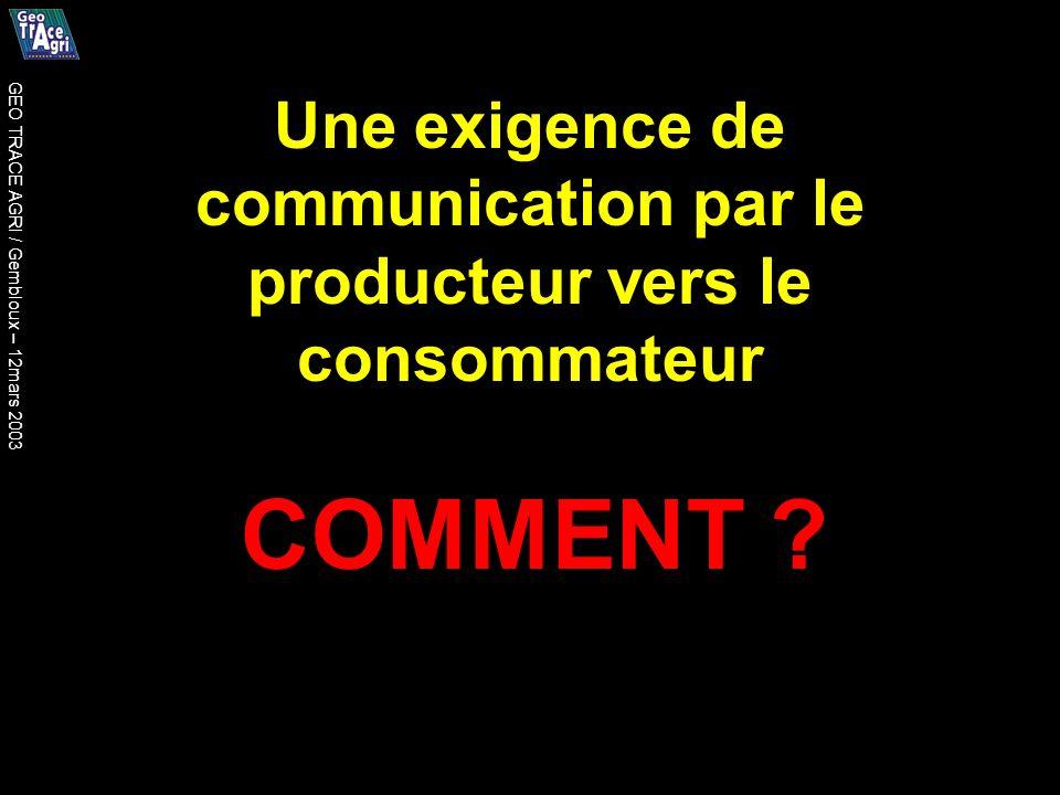 Une exigence de communication par le producteur vers le consommateur