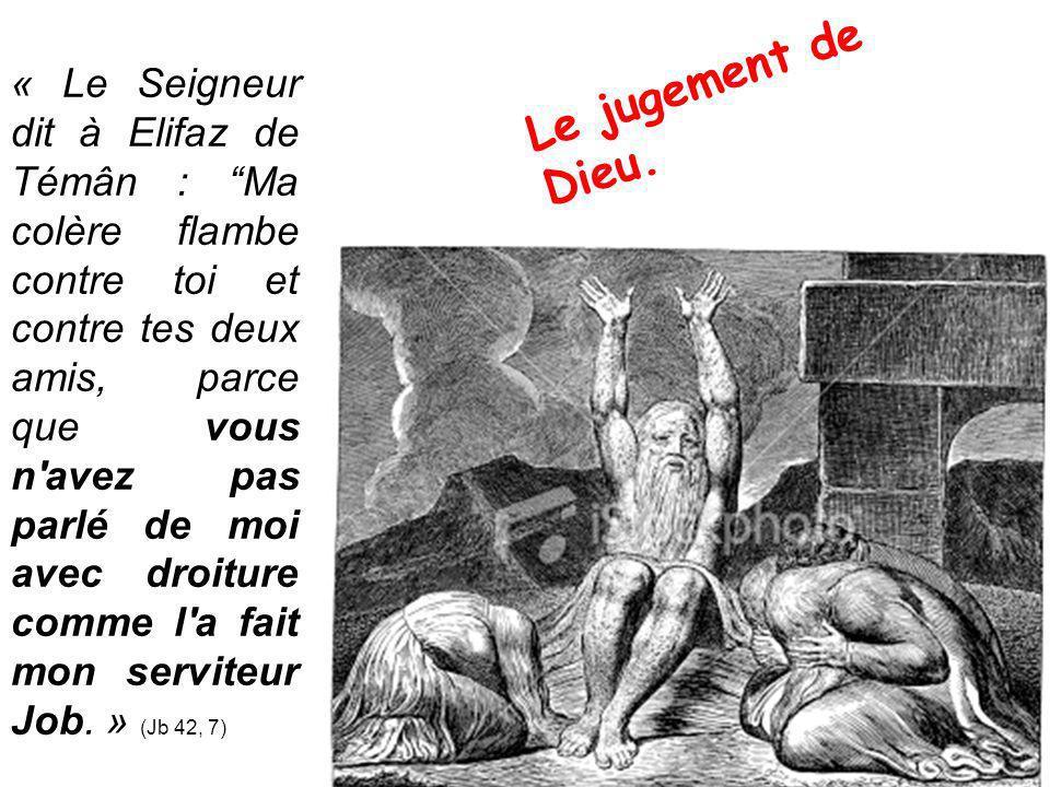 « Le Seigneur dit à Elifaz de Témân : Ma colère flambe contre toi et contre tes deux amis, parce que vous n avez pas parlé de moi avec droiture comme l a fait mon serviteur Job. » (Jb 42, 7)