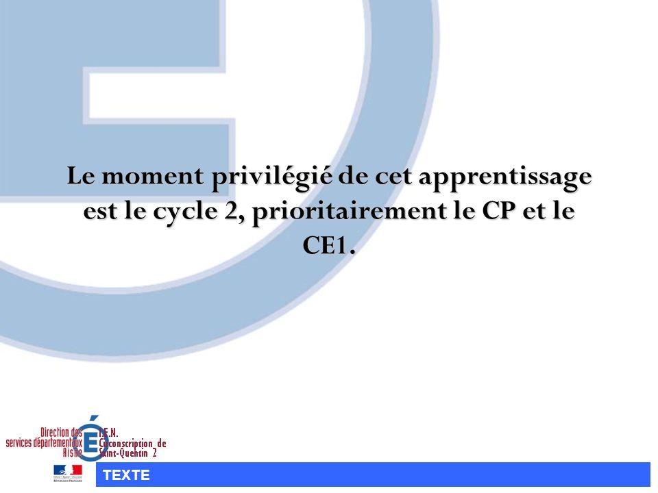 Le moment privilégié de cet apprentissage est le cycle 2, prioritairement le CP et le CE1.