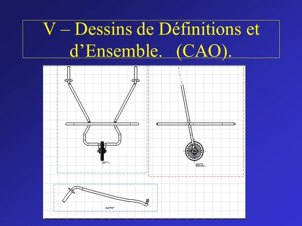 V – Dessins de Définitions et d'Ensemble. (CAO).