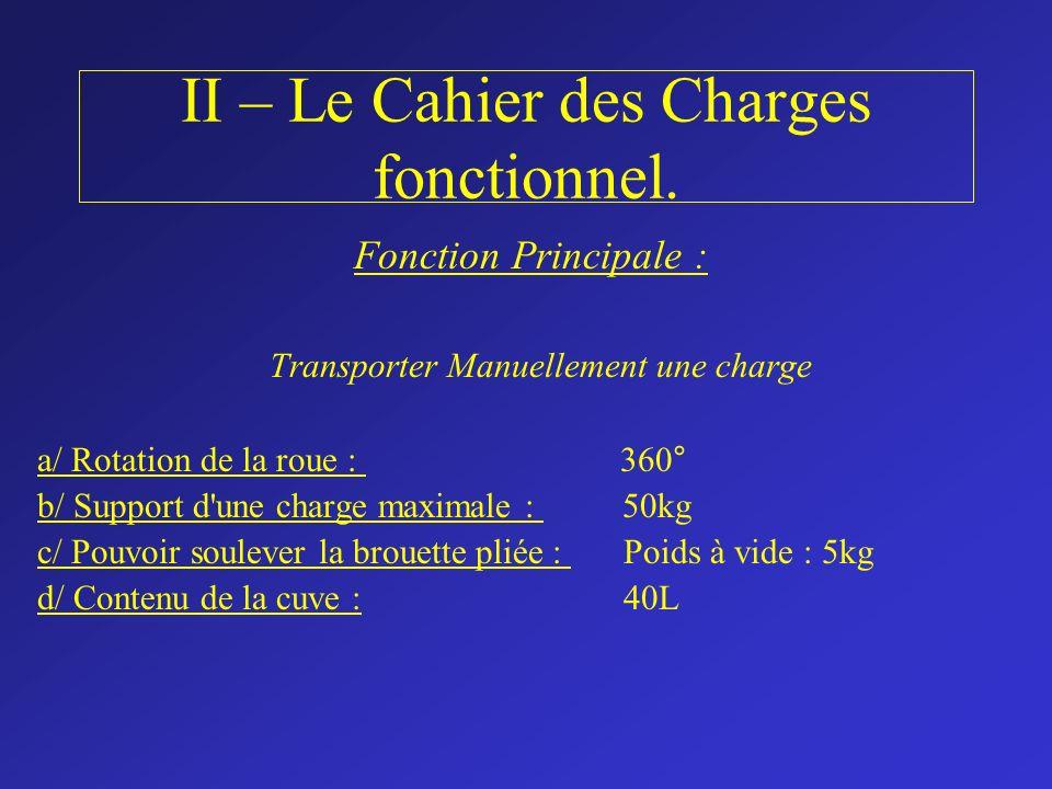 II – Le Cahier des Charges fonctionnel.