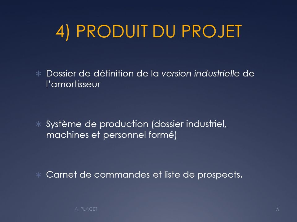 4) PRODUIT DU PROJET Dossier de définition de la version industrielle de l'amortisseur.
