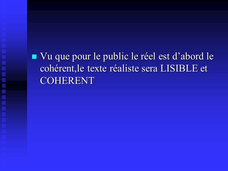 Vu que pour le public le réel est d'abord le cohérent,le texte réaliste sera LISIBLE et COHERENT