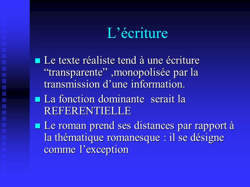L'écriture Le texte réaliste tend à une écriture transparente ,monopolisée par la transmission d'une information.