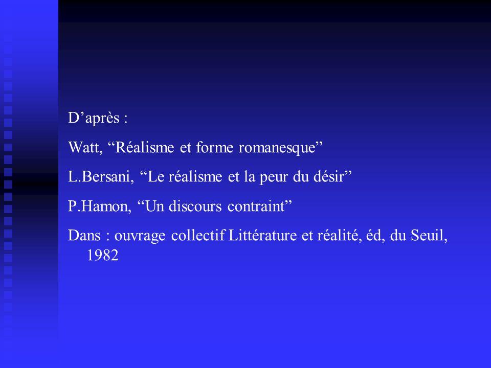 D'après : Watt, Réalisme et forme romanesque L.Bersani, Le réalisme et la peur du désir P.Hamon, Un discours contraint