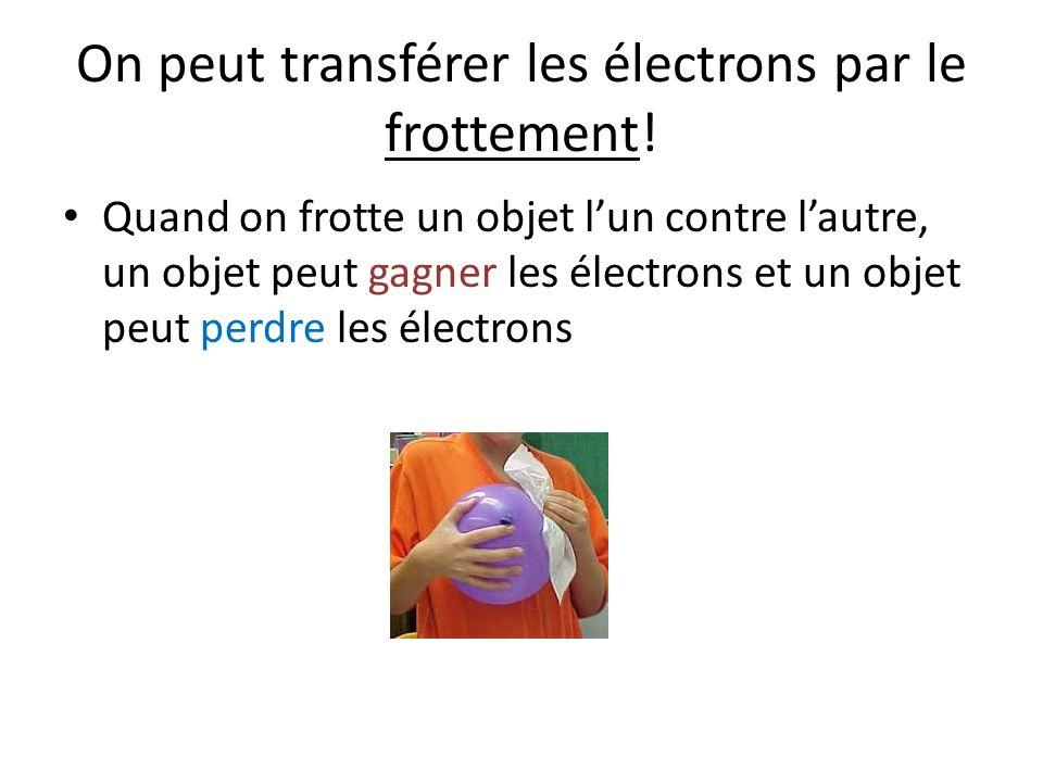 On peut transférer les électrons par le frottement!