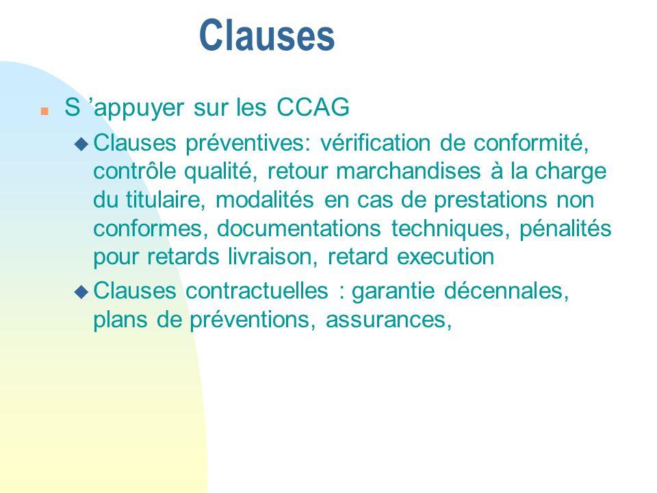 Clauses S 'appuyer sur les CCAG