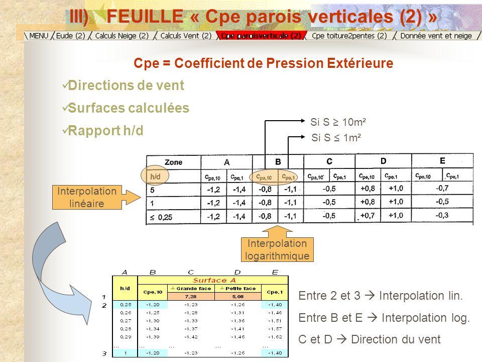 III) FEUILLE « Cpe parois verticales (2) »