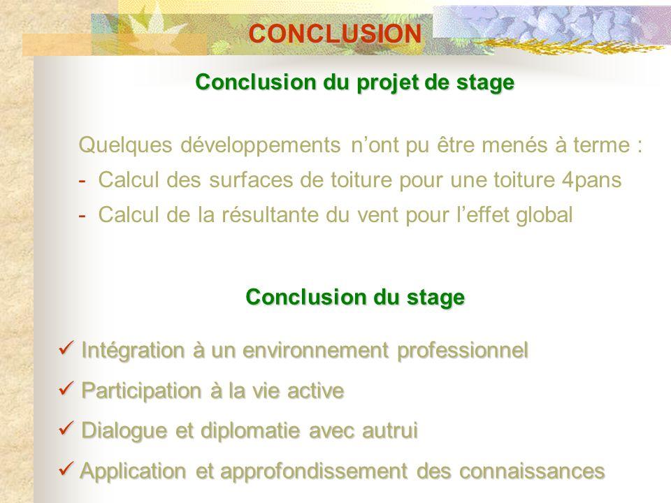 Conclusion du projet de stage