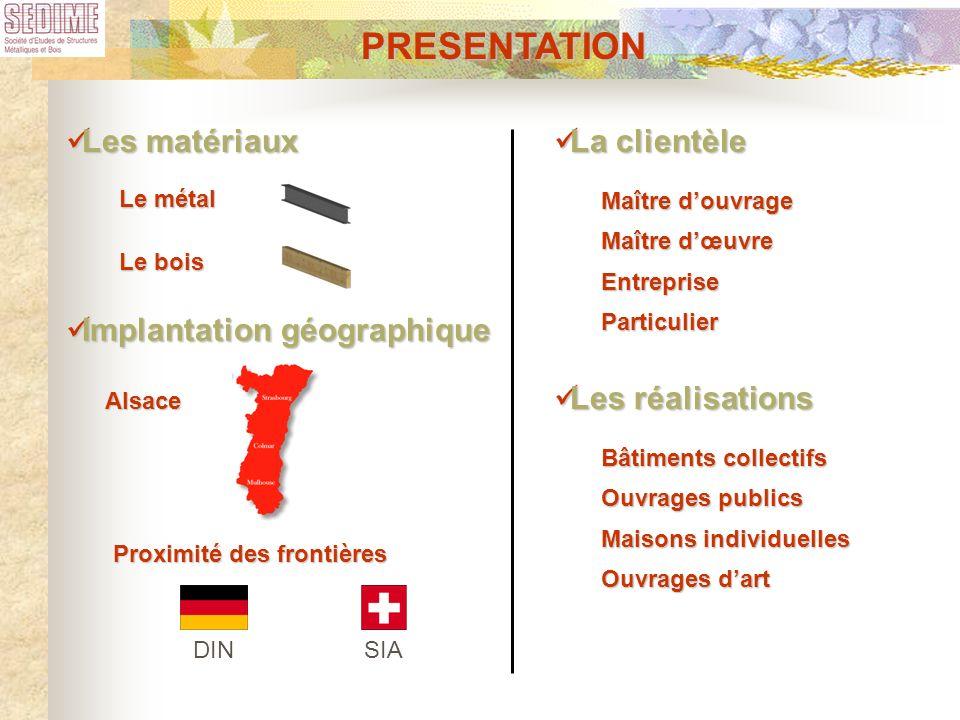 PRESENTATION Les matériaux La clientèle Implantation géographique