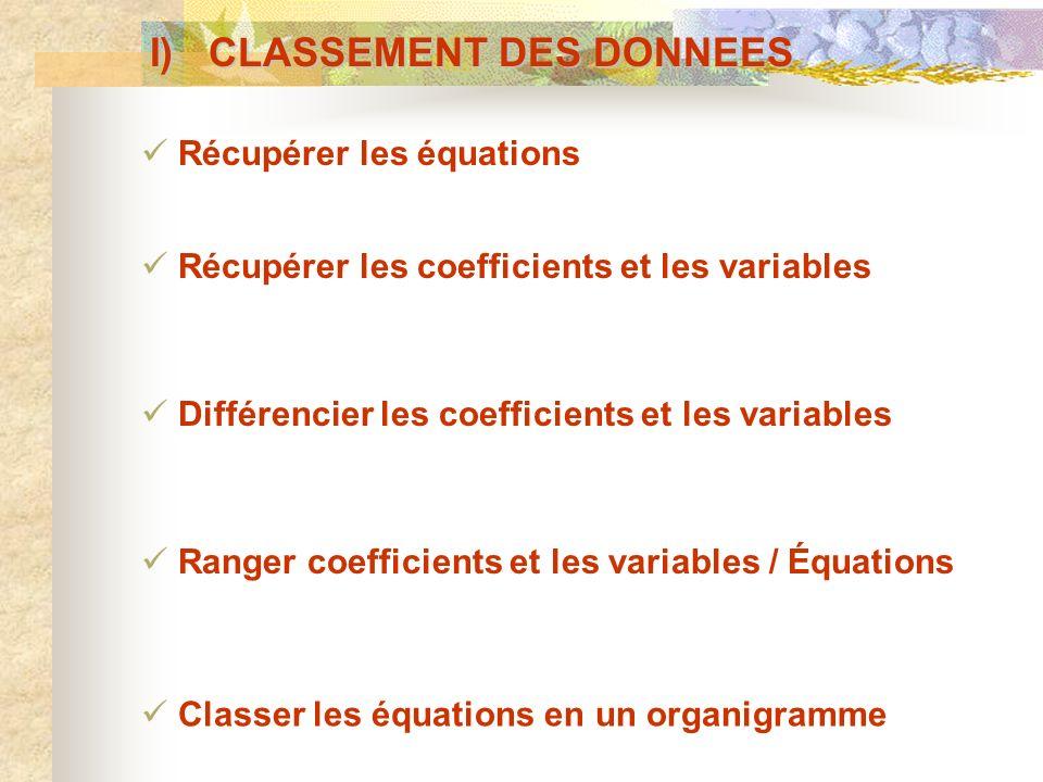 I) CLASSEMENT DES DONNEES