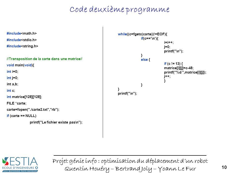 Code deuxième programme