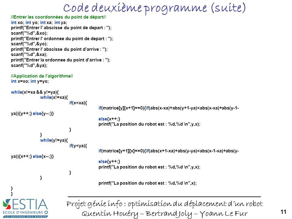 Code deuxième programme (suite)