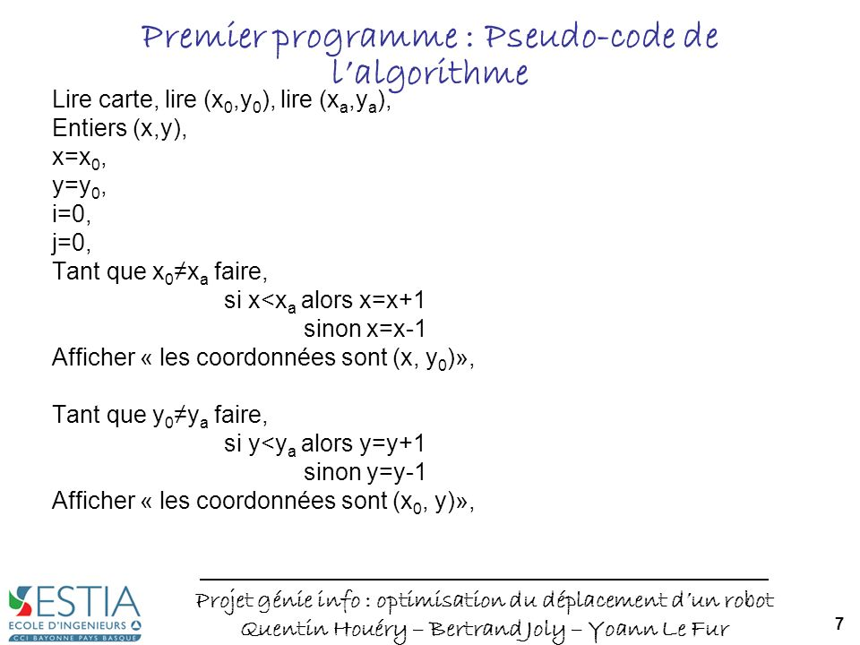 Premier programme : Pseudo-code de l'algorithme