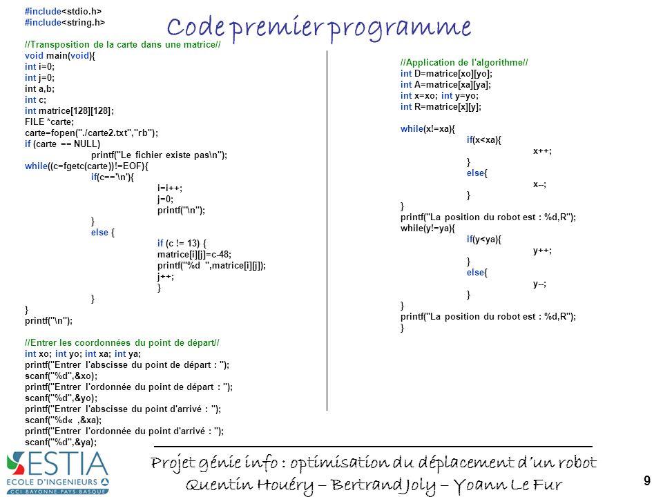 Code premier programme