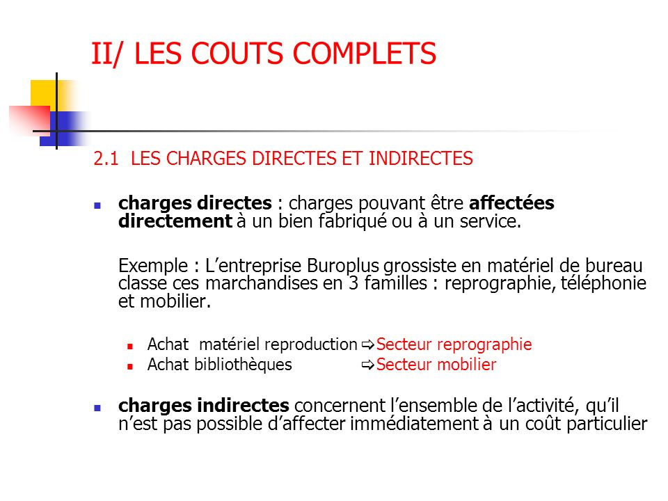 II/ LES COUTS COMPLETS 2.1 LES CHARGES DIRECTES ET INDIRECTES