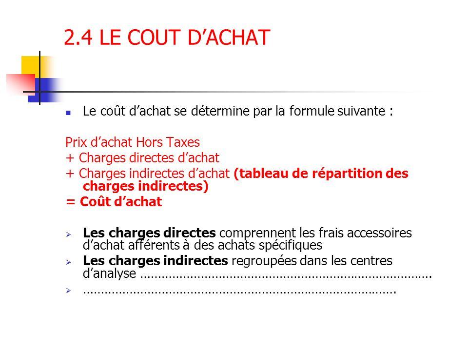2.4 LE COUT D'ACHAT Le coût d'achat se détermine par la formule suivante : Prix d'achat Hors Taxes.