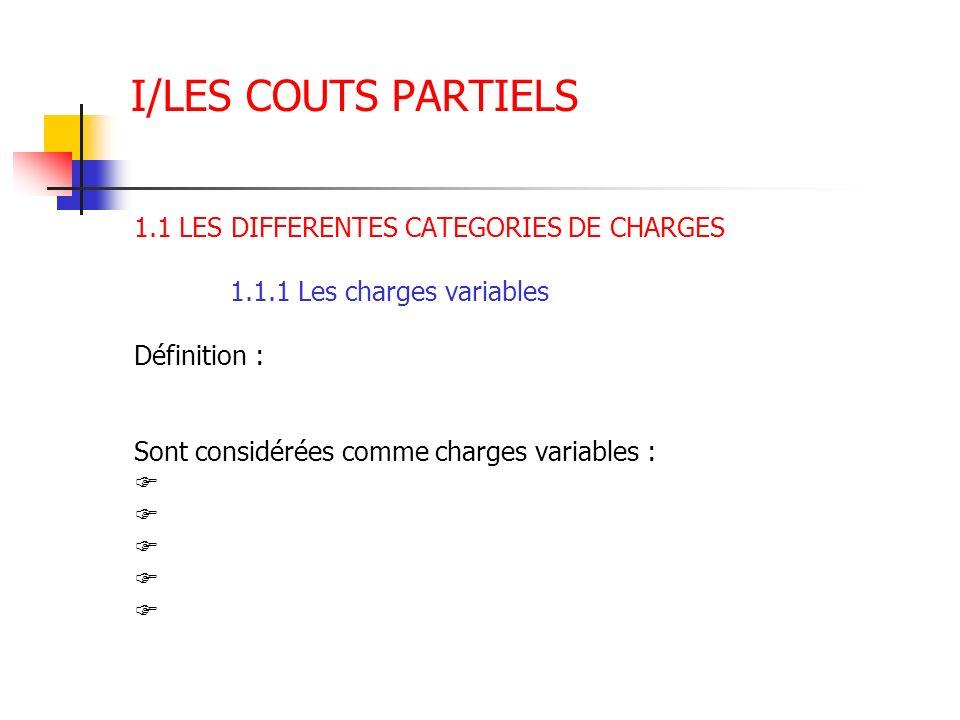 I/LES COUTS PARTIELS 1.1 LES DIFFERENTES CATEGORIES DE CHARGES