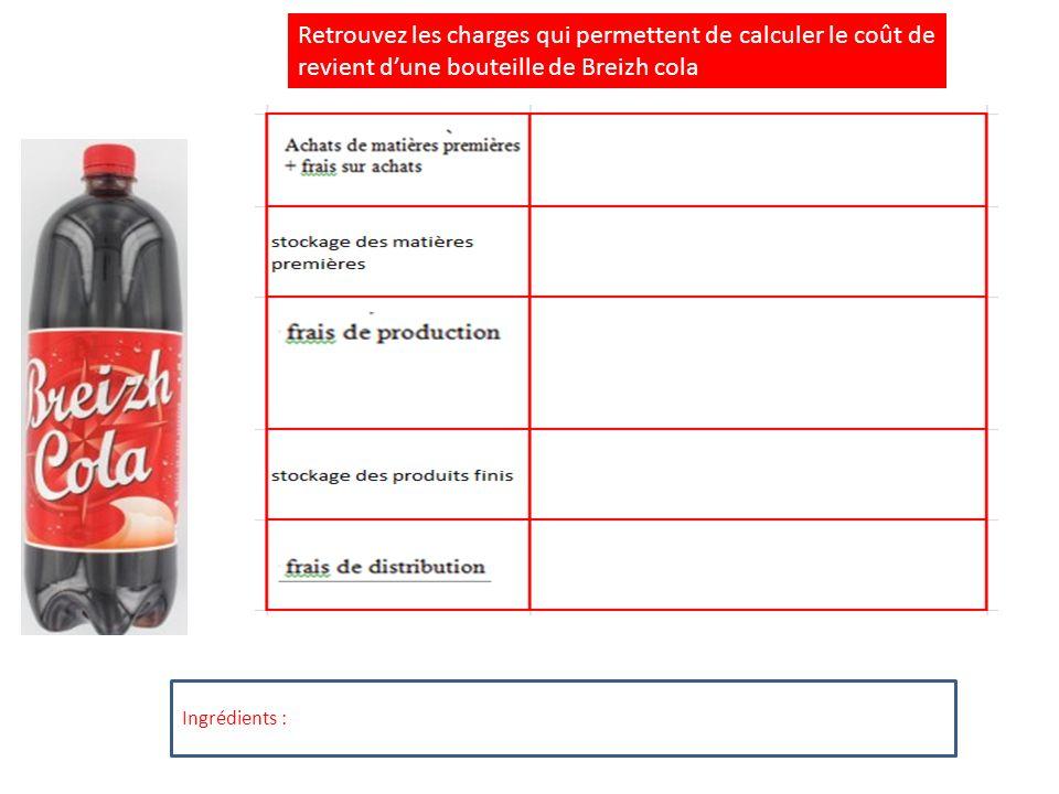 Retrouvez les charges qui permettent de calculer le coût de revient d'une bouteille de Breizh cola