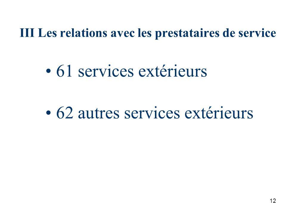 III Les relations avec les prestataires de service