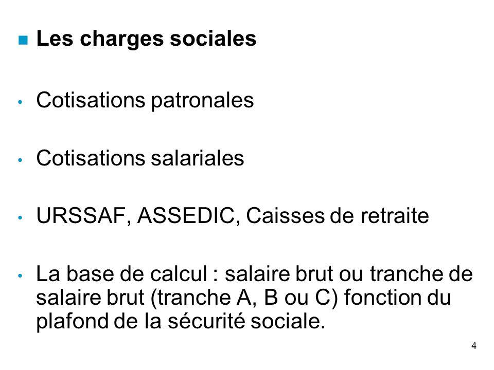 Les charges sociales Cotisations patronales. Cotisations salariales. URSSAF, ASSEDIC, Caisses de retraite.