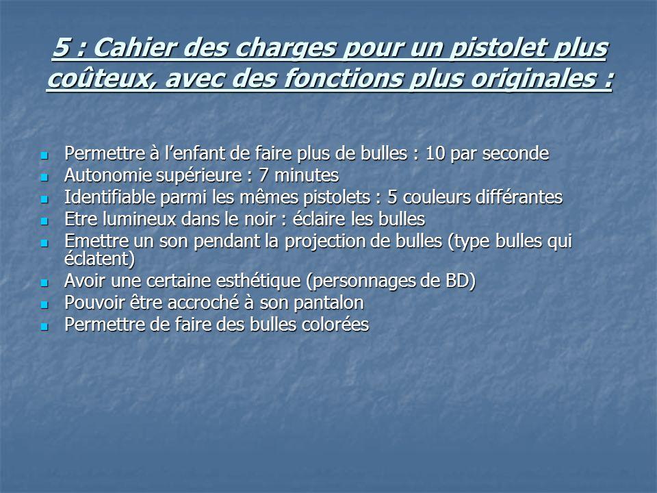 5 : Cahier des charges pour un pistolet plus coûteux, avec des fonctions plus originales :