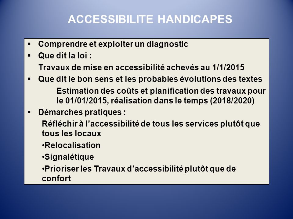 ACCESSIBILITE HANDICAPES
