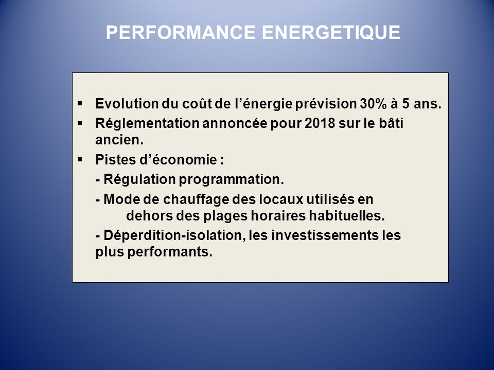 PERFORMANCE ENERGETIQUE
