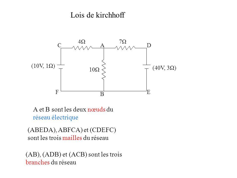 Lois de kirchhoff A et B sont les deux nœuds du réseau électrique