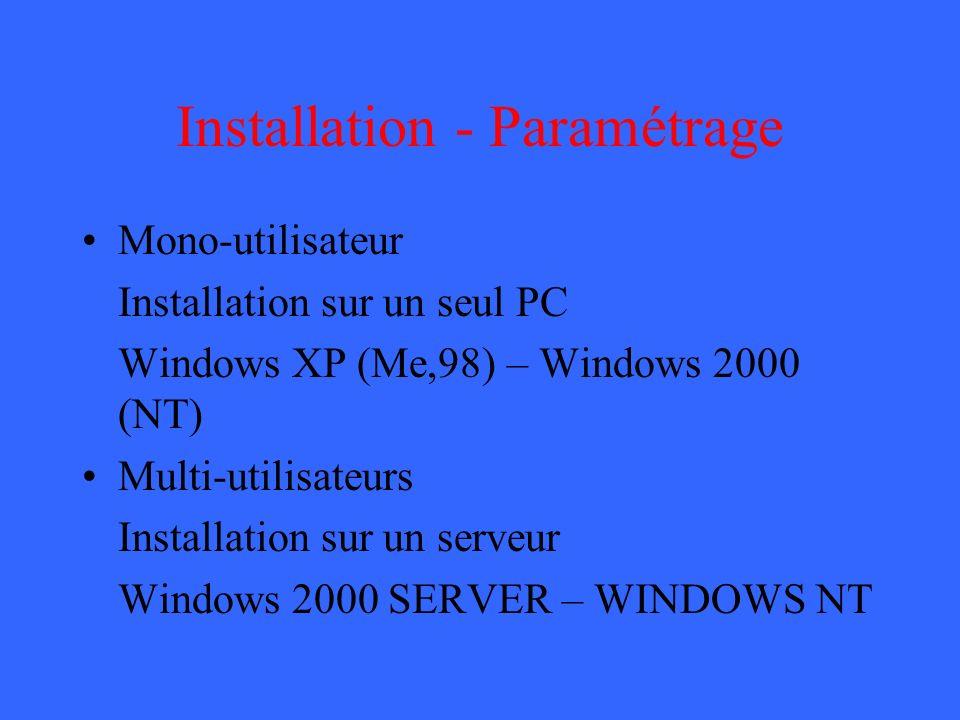 Installation - Paramétrage