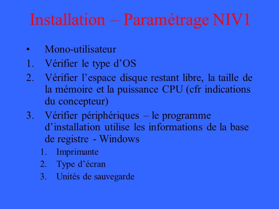 Installation – Paramétrage NIV1