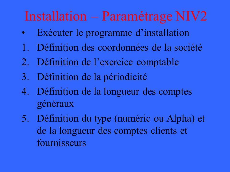 Installation – Paramétrage NIV2
