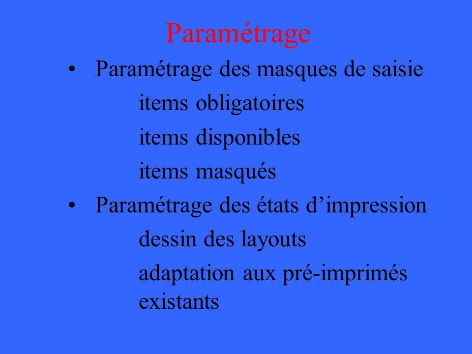 Paramétrage Paramétrage des masques de saisie items obligatoires